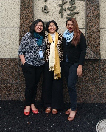 Ms. Klaren Tanalgo, Prof. Cruz, and Ms. Joy Cruz in front of the Shanghai University Hotel