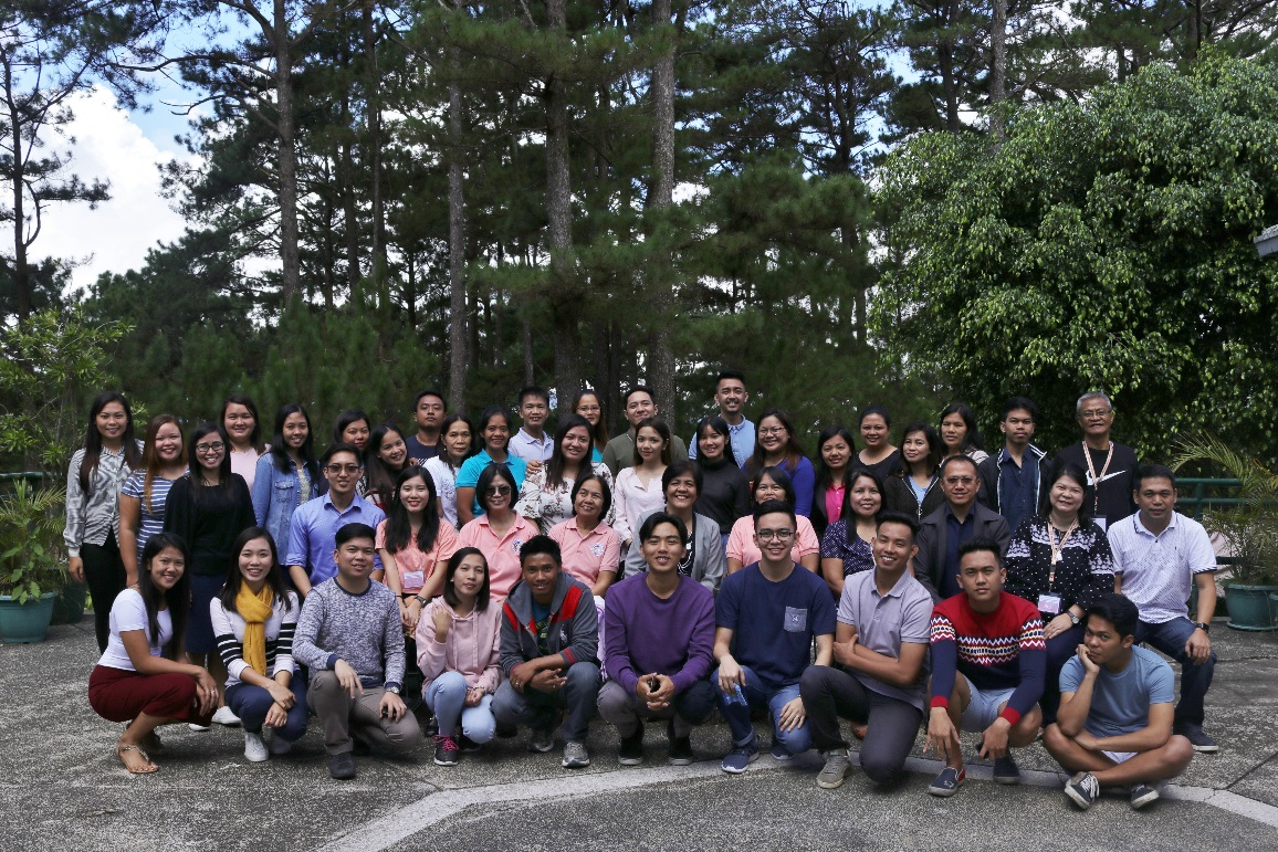 Cordillera Administrative Region (CAR) field workers for the NMS take a picture with, among others, Dr. Josefina N. Natividad<br /> (eighth from right, second row) and Prof. Maria Paz N. Marquez (fifth from right, second row) during their training [Baguio City, Benguet; July 2018]